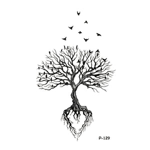 Wyuen Original Design Tree Birds Fake Tattoo Waterproof Temporary Arm Tatoo Stickers For Women Men Body Art Black Tattoos P-129