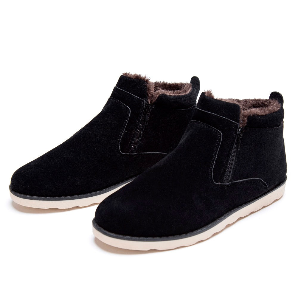 XGVOKH Size 37-47 Autumn winter men warm snow boots Casual with short plush ankle boots Height Increasing rubber zip men shoes
