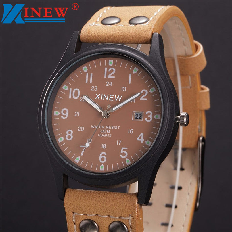XINEW Watch Men Relogio Masculino Vintage Classic Men's Date Leather Strap Sport Quartz Army Watch erkek kol saati dropship