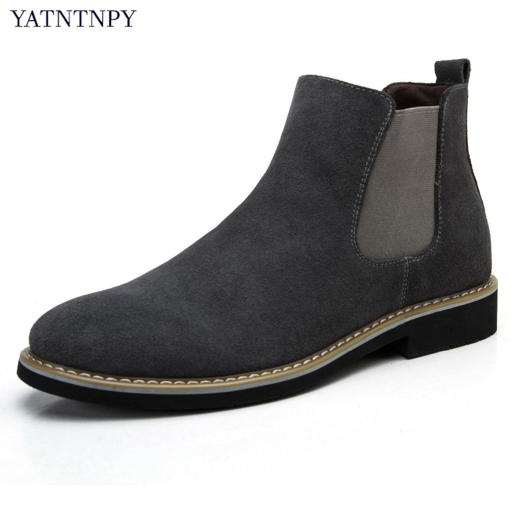 YATNTNPY High Quality Men's Short boots comfortable Suede Leather Chelsea boots ,Stylish Slip-on Winter Oxfords unisex boots