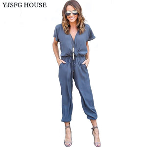 YJSFG HOUSE Short Sleeve Office Rompers Womens Jumpsuit Summer V-Neck Tied Waist Sexy Party Playsuit 2017 Overalls Pockets