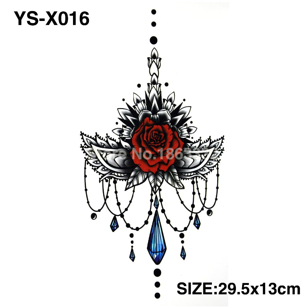 YS-X016 3D DIY Chest Flowers Fall BIG Tattoo Stickers Colorful Hot Flashes Waterproof Tatoo Body Art Temporary TATTOO Sticker