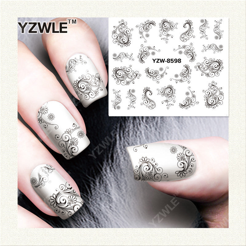 YZWLE 1 Sheet DIY Designer Water Transfer Nails Art Sticker Decals Accessories For Nail Salon (YZW-8598)