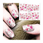 YZWLE 1 Sheets Full Cover Pretty Flower Water Transfer Sticker Nail Art Decals DIY Beauty Decorations Polish Tips
