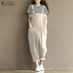 ZANZEA 2017 Casual Rompers Womens Jumpsuits Sleeveless Backless Casual Loose Solid Overalls Retro Strapless Playsuits Oversized