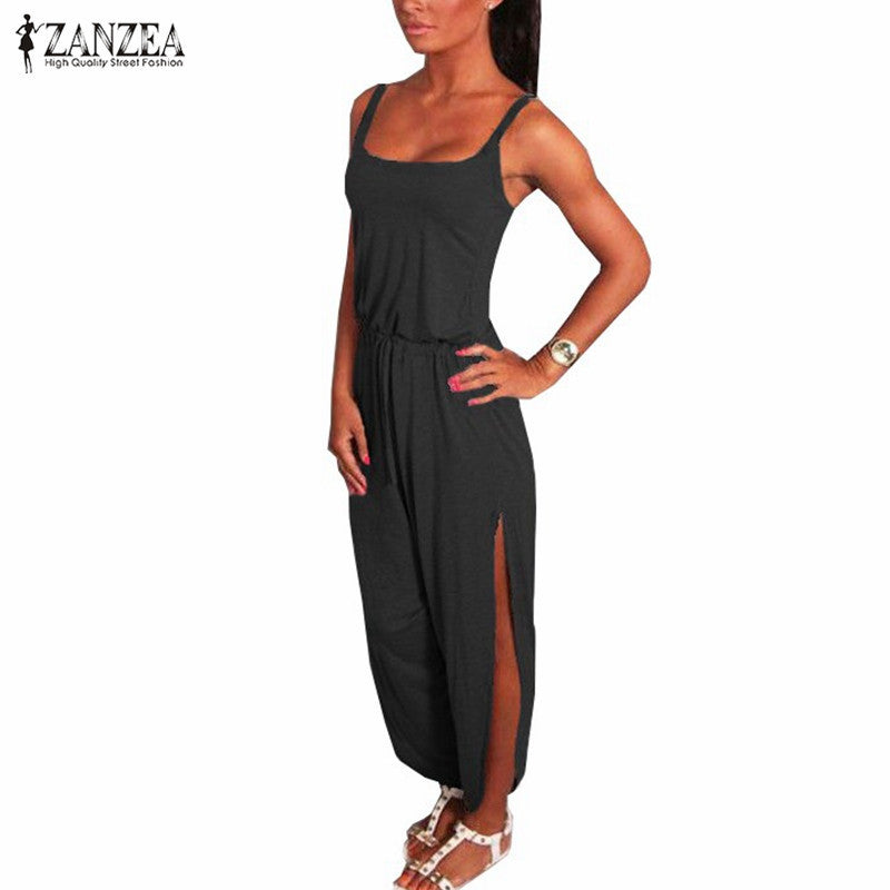 ZANZEA 2017 Playsuit Summer Rompers Women Jumpsuit Sexy Spaghetti Strap Sleeveless Split Waist Bandage Solid Overalls Plus Size