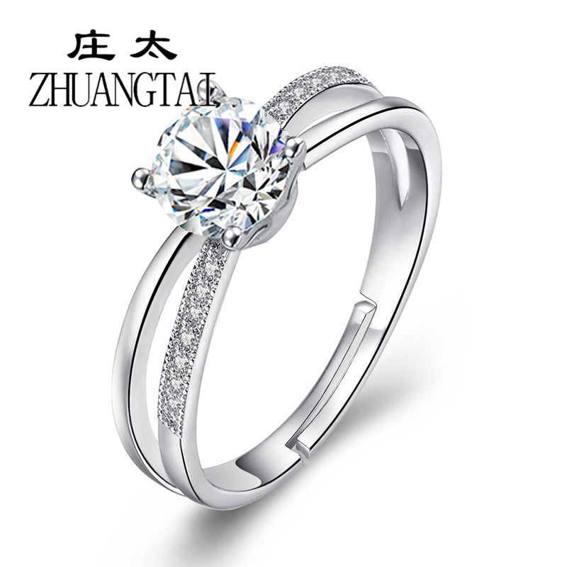 ZHUANGTAI Jewelry Bridal Rings for Women Clear Cubic Ziconia Adjustable Wedding Engagement Love Couple Finger Ring Anillos Mujer