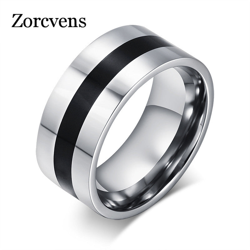 ZORCVENS Men Finger Ring Stainless Steel Party Ring Enamel Stainless Steel Engagement Ring Designer Jewelry