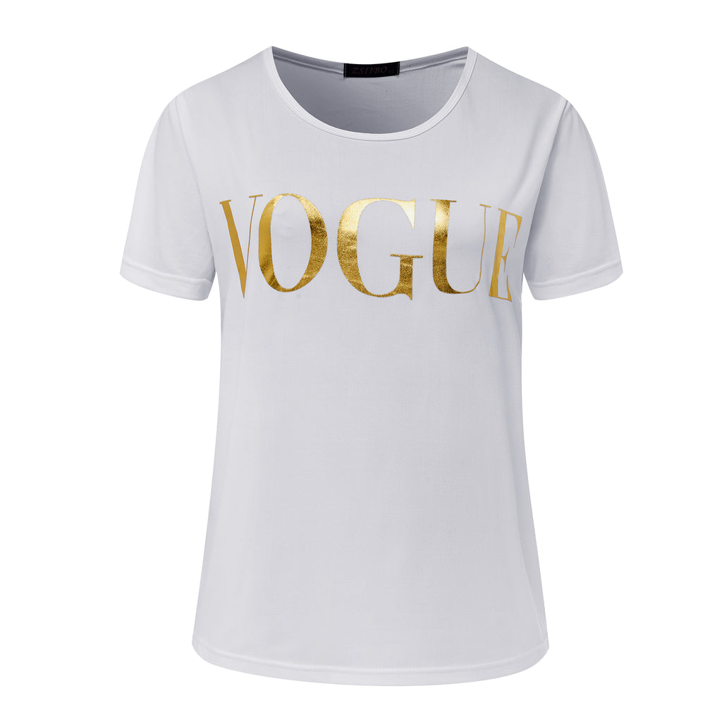 ZSIIBO Summer VOGUE Print Gold Shining Letter T-shirt Women Simple Casual Short Sleeve O-Neck Tops Femme Clothing KaTx08