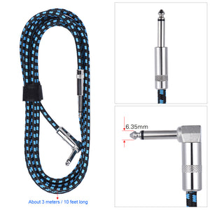 ammoon 3M /10 Feet Guitar Cable Straight to Right Angle 1/4-Inch 6.35mm Plug with Blue Tweed Woven Jacket Guitar Accessories