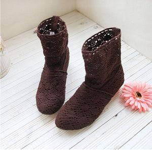 crochet summer boots bootie in 2017 with the new shoes, lace openwork crochet boots Plus size hollow fashion women boots