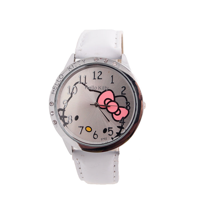 fashion leather wrist watch children girl women cartoon hello kitty quartz watch Kids relogio feminino cute lovely clock