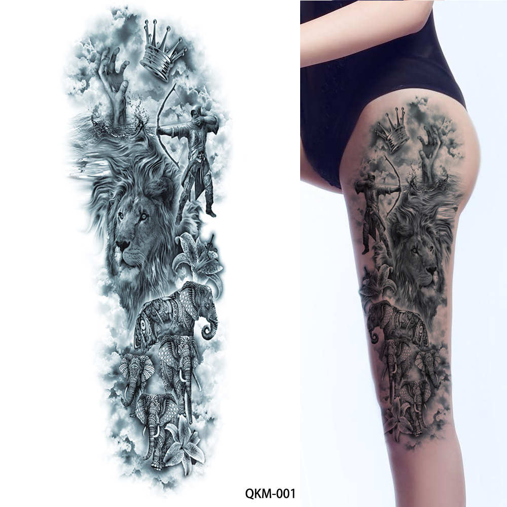 [ glaryyears ] 1 Sheet Big Large Blue Ancient Greek Mythology Temporary Full Arm Leg Waist Art Tattoo Beauty Warrior Sticker QKM
