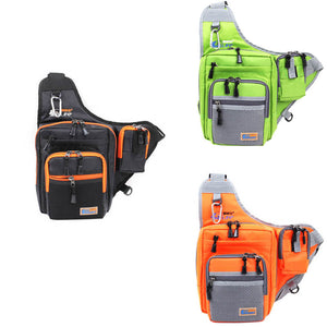 iLure Waterproof Canvas Fishing Bag Multi-Purpose Outdoor Bag Reel Lure Bags Pesca Fishing Tackle Bag Green/Orange/Black