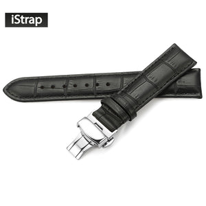 iStrap Genuine Leather Watchband With Butterfly Buckle Bands Croco Grain Bracelet for Watch sized in 14 16 18 19 20 21 22 24 mm