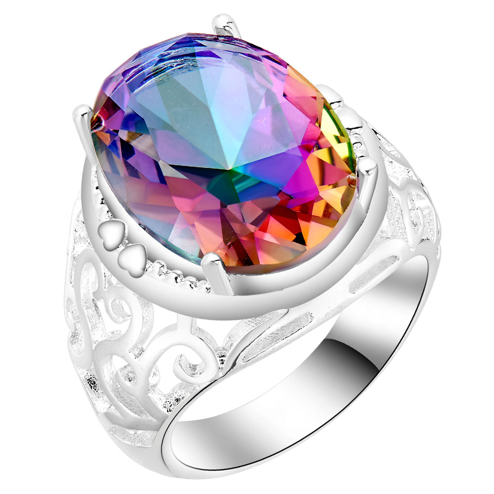large round Seven colour stone silver ring for women 1pc free drop shipping hot vintage Rainbow zircon jewelry for wedding gift