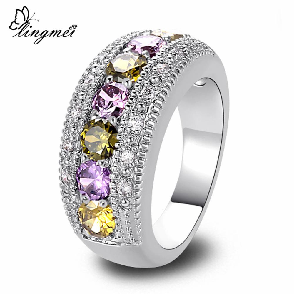 lingmei New Peridot Purple White CZ Silver Color Ring Size 6 7 8 9 10 11 12 13 Romantic Love Style Jewelry Women Rings Wholesale