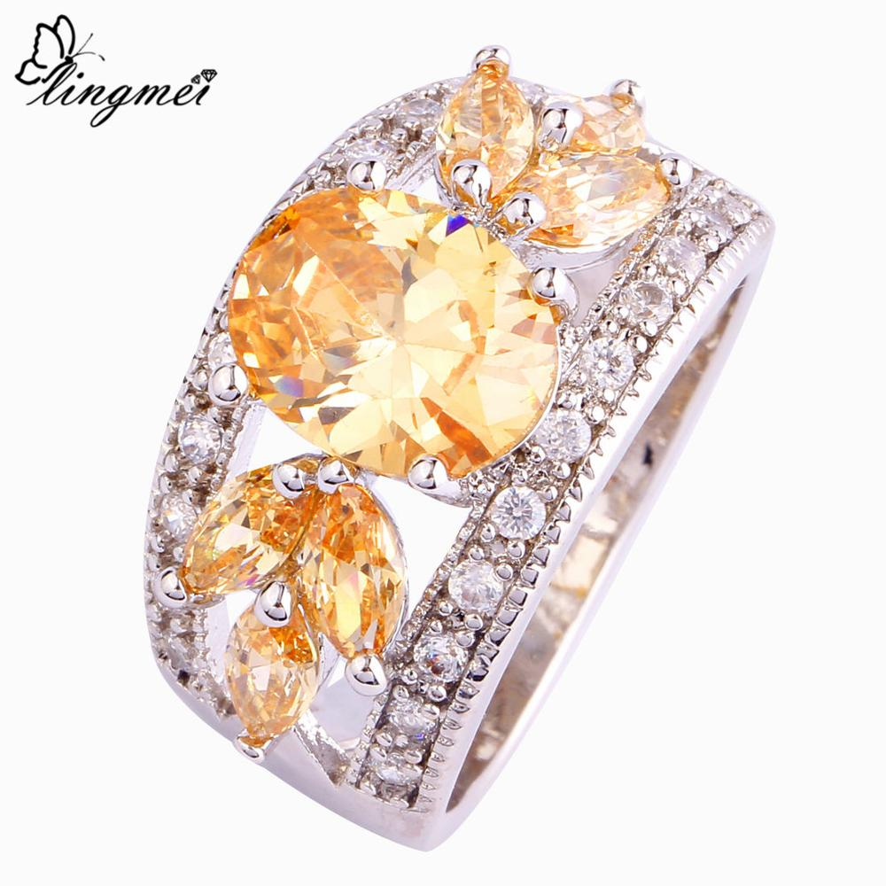 lingmei Wholesale Fashion Women Morganite White CZ Silver Color Ring Size 7 8 9 10 11 12 High Quality Unisex Noble Jewelry 650R5