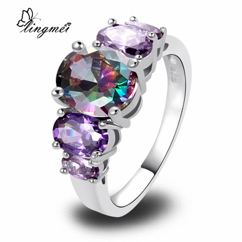 lingmei Wholesale Unisex AAA Multi-Color CZ Silver Color Ring Size 6 7 8 9 10 11 12 13 Women Men Fashion Jewelry Free Shipping