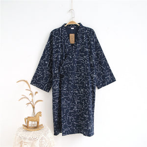 lovers Simple Japanese kimono robes men spring long sleeved 100% cotton bathrobe fashion casual waves dressing gown for male