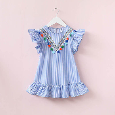 mother daughter clothes family dress striped tassel cotton dress for girls and mom family matching clothes summer dresses 2017