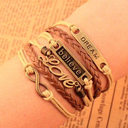 2014 Hot sales  Exclusive New Design believe dream love Infinity cross bracelet Charm Leather Multilayer Bracelet jewelry LS66