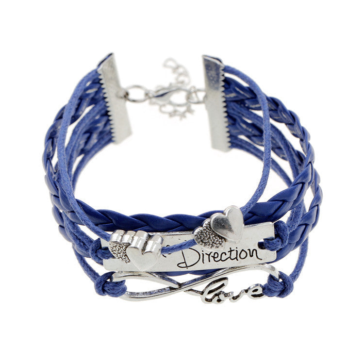 2015 new heart bead multilayer braided leather bracelet silver one direction bracelet men love one direction pulseira couro