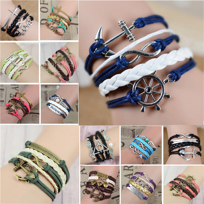 2016 New Womens Fashion Vintage Anchors Rudder Rectangle Leather Bracelet Multilayer Charm Bracelets Best Valentine's Day Gift