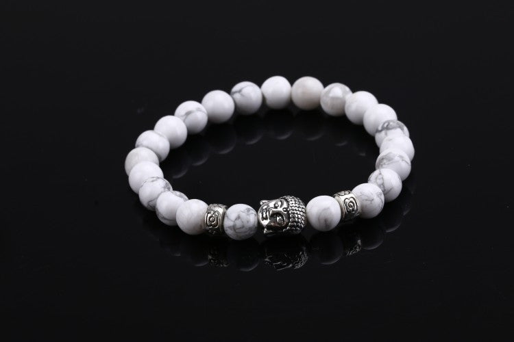 2016 Natural Stone bead Buddha Bracelets For Women and Men,Silver Buddha, Turquoise,Black Lava bracelet,pulseras mujer