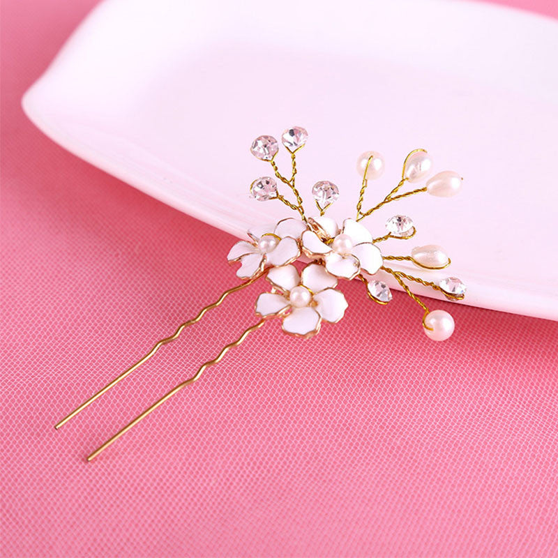 1PC Gold Bridal Pearl Flower Hair Pins Clips Bridesmaid Hairband Rhinestone Headwear Wedding Hair Accessories Hair Jewelry D0033