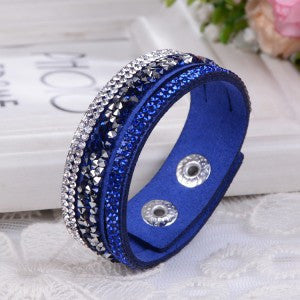 2015 New Fashion Lap  Layer Wrap Bracelets Slake Leather Bracelet  for women With Crystals Couple Jewelry