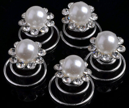 6pcs New Rose Flower Wedding Bridal Pearl Crystal Swirl Twist Hair Spin Pins Women Chic Hair Jewelry Accessories Drop Free