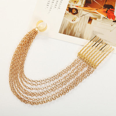 2016 New Arrival Girl Gothic Rock Long Tassel Chain Hair Pin Comb Ear Cartilage Cuff Gold Plated Clip Earrings No Piercing