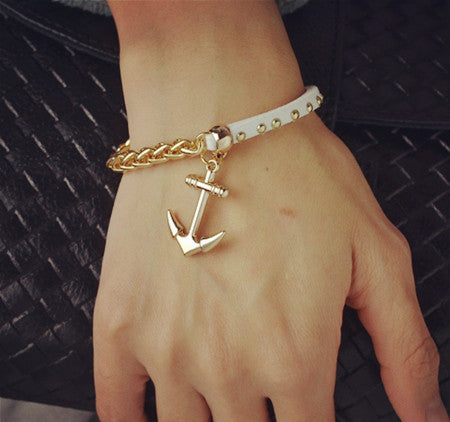 18K gold filled leather rope chain anchor charm bracelets Valentine's Day gift for women