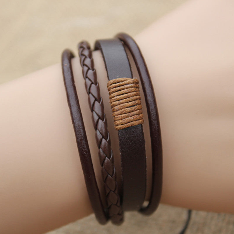 2016 New Leather Multilayer Bracelet Men Jewelry Punk Vintage Bracelets Vintage Fashion Pulseira For Men/Women 2 Colors