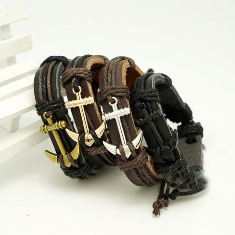 2016 Male Bangle Bracelet Chain Hand-woven Waistband Unisex Pu Leather Rope Bracelet For Men Women Anchors Woven Bracelet Charm