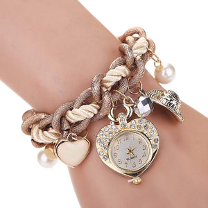 New Arrival Summer style hot sale ladies fashion watches Women Band Heart Bracelet Watches Metal Preparation Watch montre femme