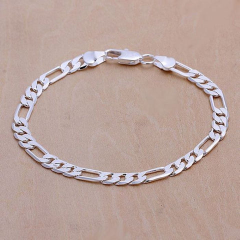 H219 925 jewelry silver plated bracelet, 925-sterling-silver fashion jewelry 6mm Flat Bracelet /aovajgca bmkakdra
