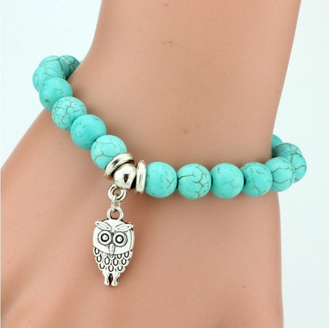 Vintage Charms Turquoise Beads Owl Elephant Bird Pendant Bracelet Fashion Hand Cross Bracelets Women Fine Jewelry Pulseras  F007