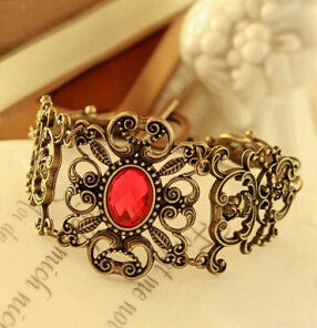 ns45  2015 The new European and American retro palace imitation ruby flower vine flower bracelet