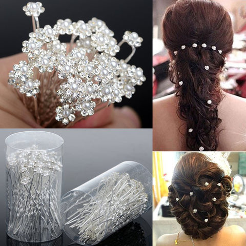 40PCS Hot Wedding Hair Pins Crystal Pearl Flower Bridal Hairpins Bridesmaid Hair Clips Women Hair Accessories