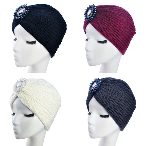 2016 New Fashion Ladies Metal Jewel Accessory Winter Warm gem Turban Soft Knit Headband Beanie Crochet Headwrap Women Hat Cap