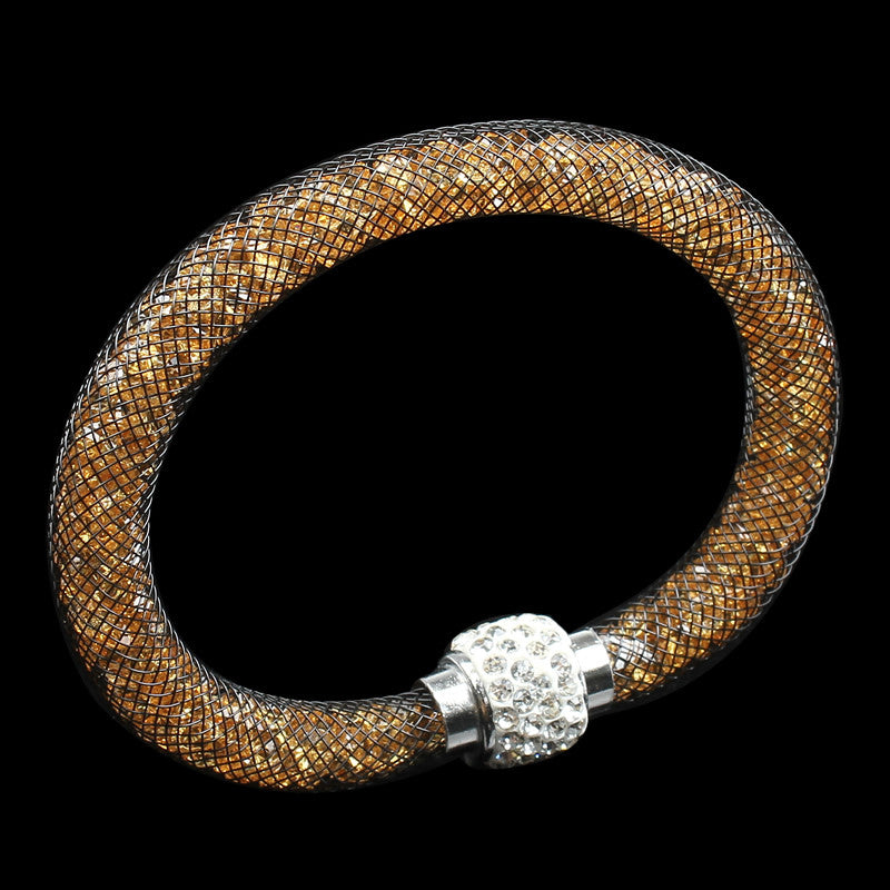 Beautiful Design Multicolor Clay Crystal Rhinestone Magnetic Clasp Mesh Stardust Charm Bracelet Women Shambhala Bangle Wristband