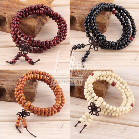 6mm natural red sandalwood bead prayer japa rosary mala bracelet Tibetan Buddhist meditation Wooden Rosary Beaded Bracelet