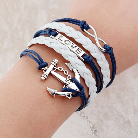 Vintage Braided Anchors Rudder bracelets Love owl best friends Leather Bracelets men jewelry heart Rope wrap Bracelets for women