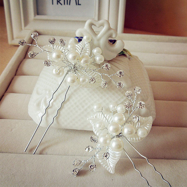 1PC Bridal Pearl Flower Hair Pins Clips Bridesmaid Hairband Rhinestone Headwear Wedding Hair Accessories Hair Jewelry D0027