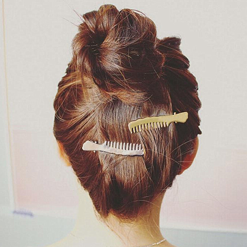 2016 New Hair Jewelry Fashion Gold Silver Coated Hair Comb Shaped Hair Clips for Women Jewellry Accessories pinzas de pelo T4