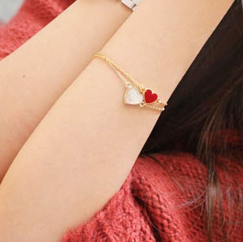 L077 Hot New 2015 Fashion Cheap Official 3 Colors Heart Bracelet For Women Wedding Jewelry Accessories Wholesale Bangles Bijoux