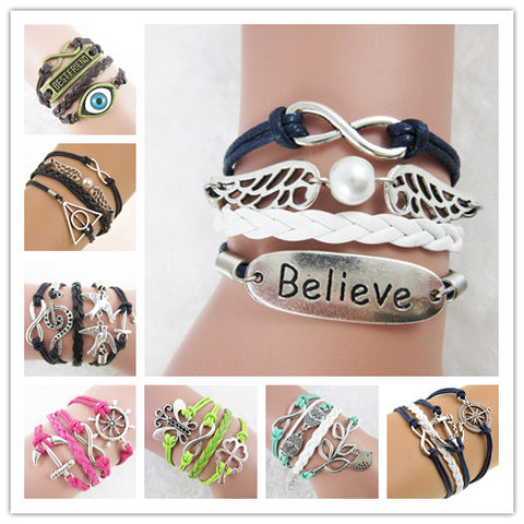 Fashion Jewelry Vintage Multilayer Braided Rope Bracelets Infinity Holly Potter Wings Anchors Owl Rudders Charms Bracelet