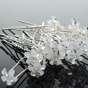 20Pcs Lots Crystal Flower Rhinestone Hair Pins Clips Tiara Bridal Bridesmaid Wedding Jewelry Accessories Wholesale